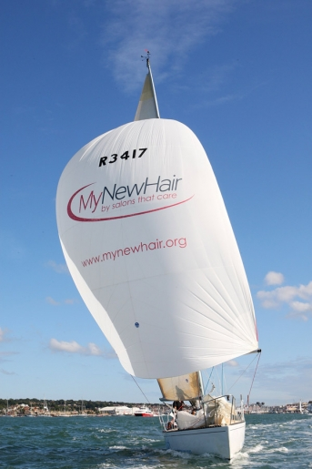 PR photograph of sailing boat promoting hair product and Trevor Sorbie charity