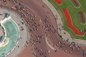 Aerial view of top of The Mall near Buckingham Palace, London, of cyclists participating in London