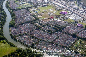an aerial photograph of tents, stages and grounds for Reading Festival 2015